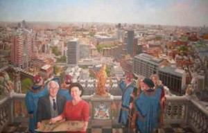 Panorama of the Modern City of London by Jeffrey Morgan, with Bankes in foreground, partly hidden.