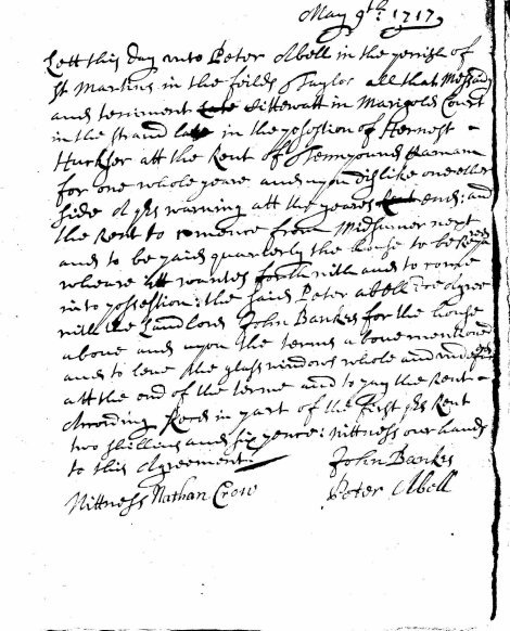 John Bankes Rental Agreement - Peter Abell, 1717