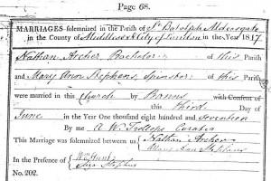 Nathan Archer & Mary Ann Stephens Marriage, London 1817