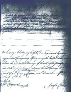 Marriage Licence Allegation - Joseph Collyer m Mary Mitchell, London, 1738