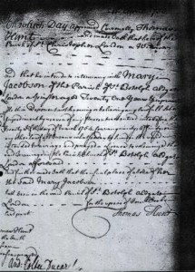 Thomas Hunt & Mary Jacobson Marriage Licence Allegation