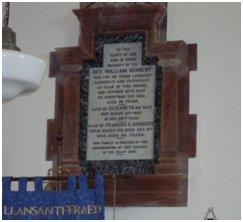Herbert Plaque Llansantffraid Church