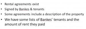 John Bankes rentals agreements